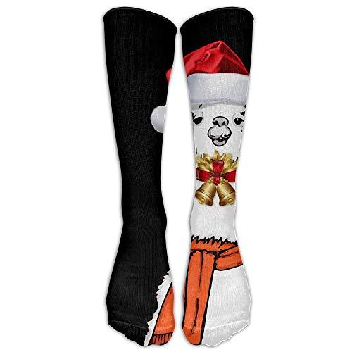 khgkhgfkgfk Lama Alpaka Weihnachten Unisex Neuheit Premium Kalb hohe athletische Socken Fashional Tube Strümpfe Größe 6-10 19,68 Zoll -