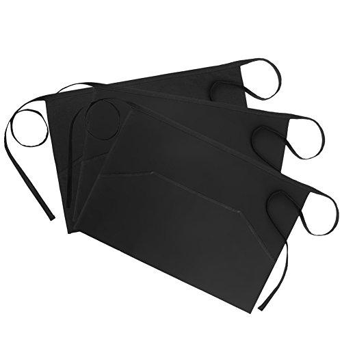 InnoGear 100% Baumwoll Vorbinder Schürze Taillen Schürze mit 3 Taschen, Kellnerschürze Kochschürze Backschürze für Bistro Restaurant, Schwarz (3 Stücke)