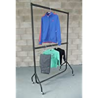 "The Shopfitting Shop Heavy Duty Clothes Rail DOUBLE HANGING RAIL 6ft Long x 6ft 6"" High with a height adjustable middle rail"