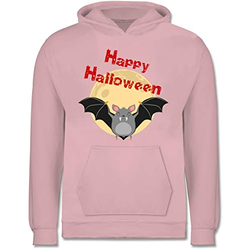 Shirtracer Tiermotive Kind - Happy Halloween Fledermaus - 7-8 Jahre (128) - Hellrosa - JH001K - Kinder ()