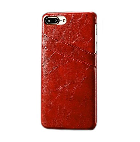 "Phone Case pour Apple iPhone 7 Plus 5.5 ""Coque avec 2 compartiments Carte rigide en cuir synthétique soft touch Housse de protection Cover Rot"