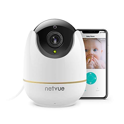 NETVUE WLAN Kamera, Überwachungskamera Innen WLAN Handy Sicherheit Kamera WLAN Babyphone mit Bewegungserkennungsalarm, Nachtsicht, Zwei-Wege-Audio Haustier Kamera Weiß