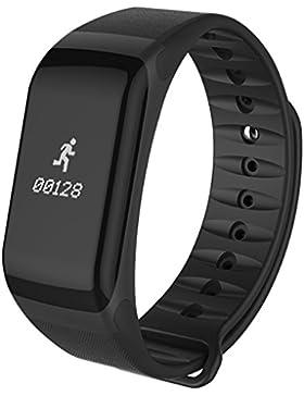 Loluka F1 Unisex Armbanduhr Blutdruck Herzfrequenzmesser Schrittzähler Kalorien Wasserdicht Sportuhren Schwarz