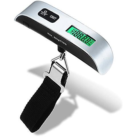 ENROSE Básculas para equipaje ,Báscula Digital de Equipaje 50kg con Sensor de Temperatura, Pantalla