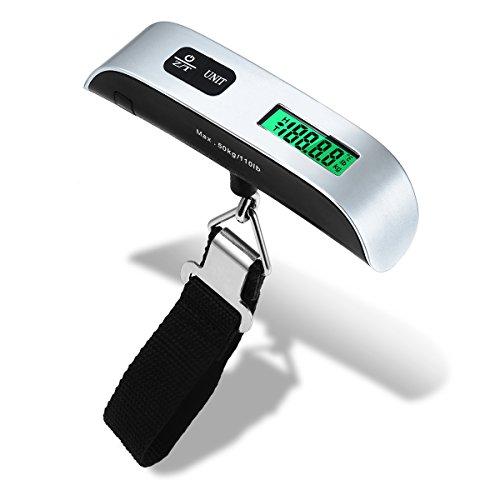 ENROSE Básculas para equipaje ,Báscula Digital de Equipaje 50kg con Sensor de Temperatura, Pantalla LCD