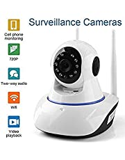 Night Vision CCTV Camera with 720p HD Wi-Fi Security Surveillance System (Home Wireless Dome Pan/Tilt with 2-Way Audio) - White