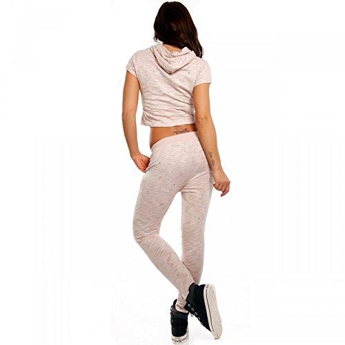 Damen Freizeitanzug Yogatights & Sweater Homewear Jogger Set Rosa