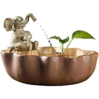 Zunruishop Tabletop Water Fountain Ceramic Indoor Desktop Fountain Simple Fish Tank Decoration Decoration Living Room Office Desktop Humidification Craft Gift Fountain Indoor and Outdoor (Color : D)