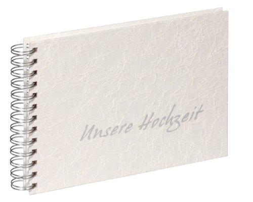 Pagna 13856-02 Hochzeits-Spiralalbum 240 x 170 mm Tsarina, hochwertiger Gewebeeinband, 40 Seiten weißer Fotokarton, Farbe: weiß