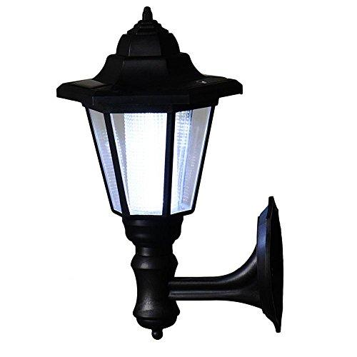 LED Lampe Solaire Mural Applique Extérieure Style Vintage pour Couloir Porte du Jardin- Noir - Blanc Froid