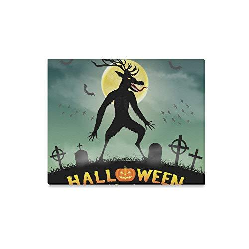 lerei Halloween Scary Wendigo Monster Nacht Friedhof Drucke Auf Leinwand Das Bild Landschaft Bilder Öl Für Zuhause Moderne Dekoration Druck Dekor Für Wohnzimmer ()