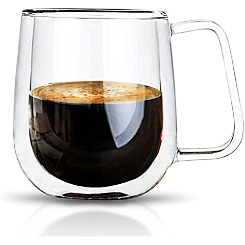 VARANO Double Wall Insulated Espresso Mug With Handle-Crystal Clear Cup For Tea, Coffee, Milk or (Vintage Wine Journal)