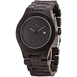 Wooden Watches for Men 44mm Case Natural Black Sandal Wood Wrist Watch with Miyota Movement Date Window