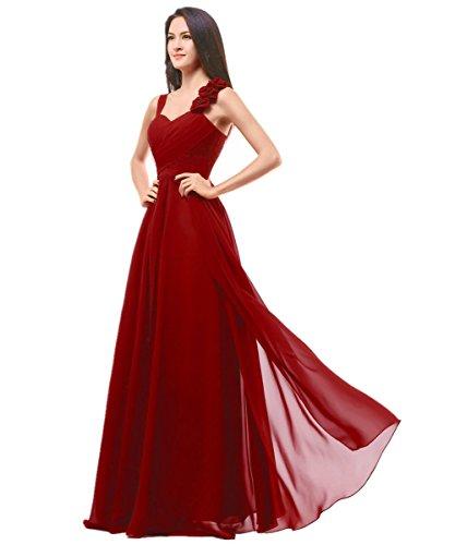 KAIDUN Damen Chiffon Doppelter Schultergurt Abendkleider Lange Brautjungferkleid Rot 48