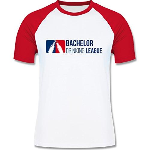 JGA Junggesellenabschied - Bachelor Drinking League - zweifarbiges Baseballshirt für Männer Weiß/Rot