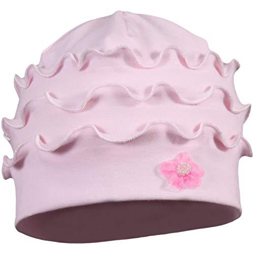 TupTam Baby Mädchen Topfmütze mit Blume Baumwollmütze Jersey, Farbe: Rüsche Rosa, Größe: 6 - 12 Monate