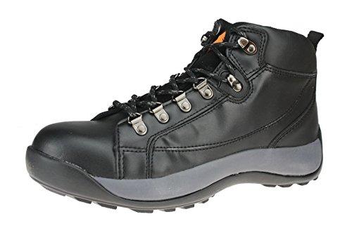 ET Safety C3222 Brodequins de travail en cuir à lacets Coque en acier Noir - noir