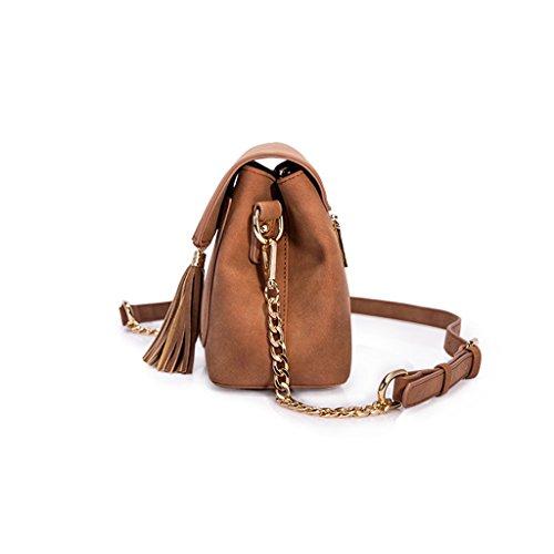 Chaîne sac à main Wild Tassel rétro épaule sac rétro Design Fringed Retro Tide ( couleur : Marron ) Marron