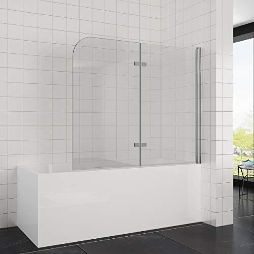 Elegant Duschwand für badewanne 140x120 cm(BxH), 2-teilig faltbar, 6 mm Aufsatz Duschabtrennung Schwingtür -
