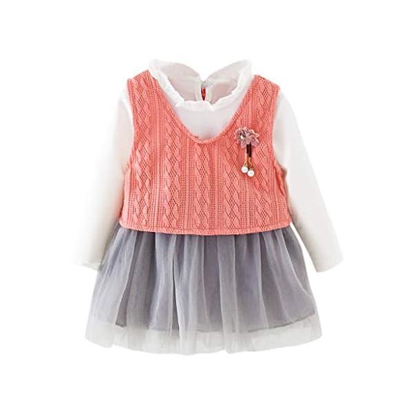 Heetey - Conjunto de Ropa y Abrigo para niña, con Volantes, Manga Larga, Vestido de Princesa + Chaqueta, Lazo, suéter… 1