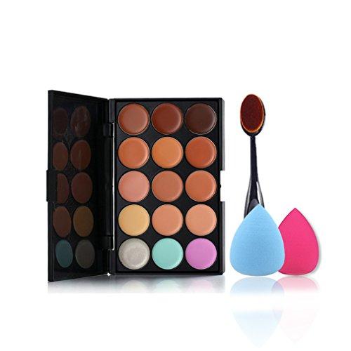 Pure Vie® 1 Pcs Pinceaux Maquillage Trousse + 2 Éponge Fondation Puff + 15 Couleurs Palette de Maquillage Correcteur Camouflage Crème Cosmétique Set - Convient Parfaitement pour une Utilisation Professionnelle ou à la Maison