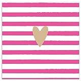 Servietten 33x33cm Herz Streifen Gold pink