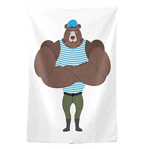 Russische pelzigen Bären Tier Wandteppich Wandbehang Cool Post Print für Wohnheim Home Wohnzimmer Schlafzimmer Tagesdecke Picknick Bettlaken 80 X 60 Zoll (Pelzigen Bären)