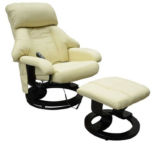Homcom Fauteuil de massage relaxation chauffage electrique repose-pied creme 72