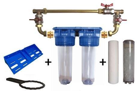 Double porte filtre à eau 9'3/4-20/27F avec cartouche 20µm + Polyphosphate + by-pass