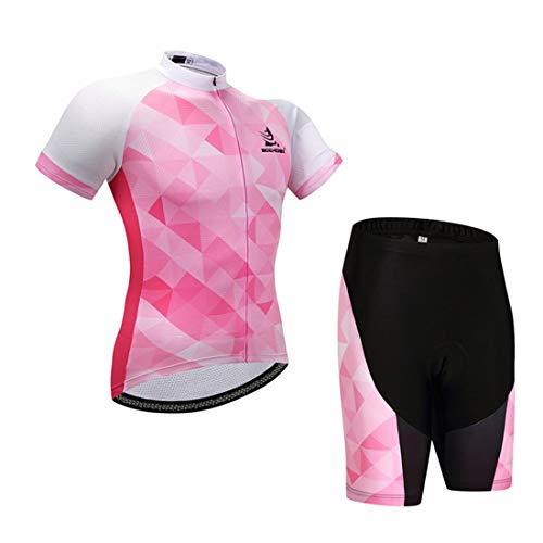 GWELL Damen Radtrikot Atmungsaktive Fahrradbekleidung Set Trikot Kurzarm + Radhose mit Sitzpolster für Radsport Rosa L