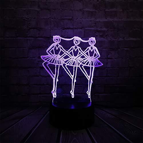 WangZJ Drei weibliche Ballerinas 3d Lichter/Led Tisch Nachtlichter/Luminaria Weihnachten Kinder Spielzeug/Kinder Geschenke/Touch-Fernbedienung