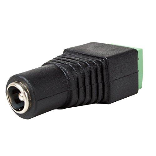10 STÜCK - 5,5mm x 2,1mm DC-Buchse weiblich Stecker-Adapter - Power Draht Spannung Stromversorgung Zubehör für CCTV Kameras und einfarbige LED Streifen Lichter DC-Hohlstecker   Movoja®   schwarz - Spannung Stecker