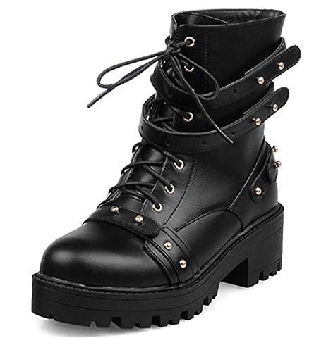 YE Damen High Heels Stiefeletten mit Plateau Bequeme Blockabsatz Schnürung und Schnallen Nieten Herbst Winterschuhe