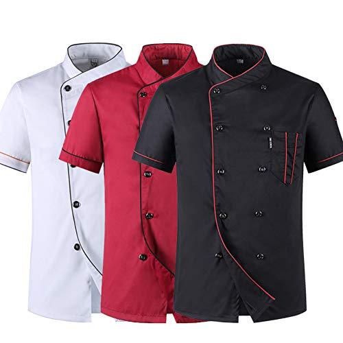 Unisex Kochmantel, Sommerkoch-Catering-Uniformen-Jacken für Damen und Herren, Restaurant Küche Nahrungsmittelservice Baumwolle Kurzarm Kochanzug für Kochwettbewerb,Black,M