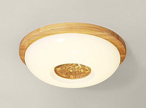 Plafonnier Peaceip Lampe de Plafond en en Bois Massif de Mode Simple, Rond pour Salon, Chambre à Coucher, étude (lumière Blanche Chaude) (Taille : L)