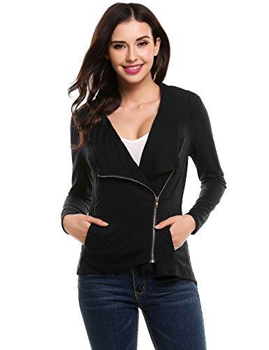 ACEVOG Damen Sweater Übergangsjacke Asymmetrisch Pullover Sweatshirt Tops Cover Up Outwear