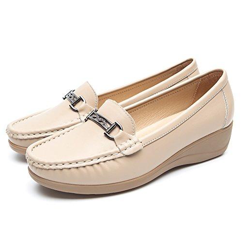 Nero pelle mocassini scarpe per donna - cestfini comode flat loafers donna, la scelta migliore per camminare, scarpe con zeppa platform, per tutte le stagioni sh001-beige-37