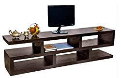 TimberTaste SLINE Solid Wood TV Entertainment Unit (Dark Walnut Finish)