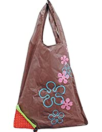 Designeez Hot Fashion Cute Strawberry Foldable Reusable Shopping Storage Bag Women Travel Grocery Bags Tote (Coffee)