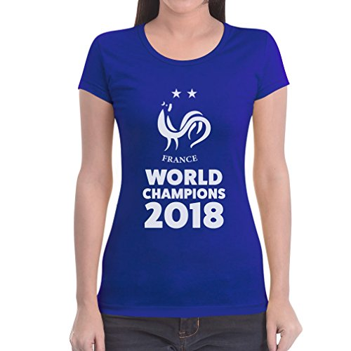 Frankreich Weltmeister 2018 Fußball Fanshirt/Trikot Damen T-Shirt Slim Fit Medium Blau