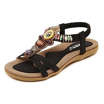 Insun Women's Bohemian Beaded Ankle Strap Sandal