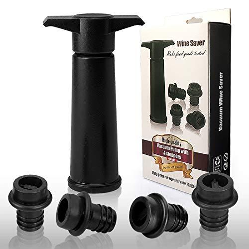 Yobansa Weinpumpe mit 4 Vakuum Weinverschluss,Vakuum Weinverschluss,Vakuum Weinstopfen,Weinverschluss,Weinverschlüsse (Black 02)