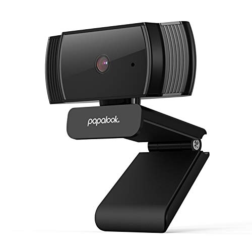 papalook Webcam 1080P HD avec Mise au Point Automatique AF925, Web Caméra Autofocus à Désigne Plié et Déplacé, Pivotable à 360 Degrés, USB Cam PC avec Microphone Anti-Bruit Intégré - No