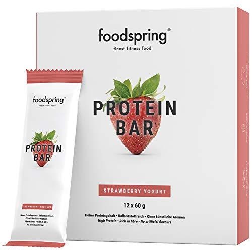 foodspring Protein Riegel Erdbeere-Joghurt, 12er Pack Eiweißriegel ohne Zuckerzusatz, Hergestellt in zertifizierten Produktionen in Deutschland
