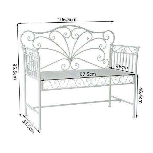 Outsunny Garden 2-Sitzer Metall Bench Park Platz Outdoor Möbel W/Dekorative Rückenlehne weiß - 2