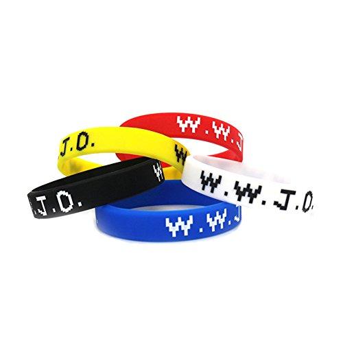 "SpringPear® 5x Silikon Armbänder für Damen Herren Unisex Liebespaar Fitness Accessoire Silikonarmband Powerarmbänder als Schmuck mit Schrift ""W.W.J.D"" ""What would Jesus Do"" 5 Stück"