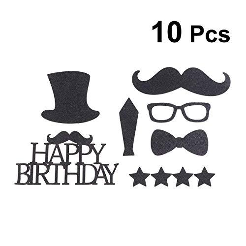 Amosfun 10 Stücke Happy Birthday Cake Topper Schwarzer Schnurrbart Cake Toppers Kleiner Mann Kuchen Dekorationen für Geburtstag Baby Shower Vatertag Party Supplies