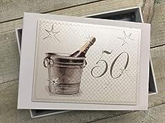 Idea Regalo - Cotone Bianco Carte Erinnerungsalbum per Il 50 ° Compleanno, Piccolo, Champagne e Secchiello