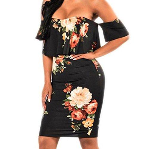 Overdose Damen Sommer Kleid Slash Neck Holiday Mini Damen Strand Print Backless Kleid aus Schulter Röcke (S, Schwarz)