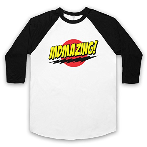 MDMAzing Parody Drug Slogan 3/4 Hulse Retro Baseball T-Shirt Weis & Schwarz